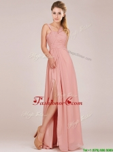 Modern Straps Peach Prom Dress with Ruching and High Slit BMT0166CFOR