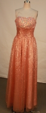 Modern empire strapless floor-length beading rust red prom dresses FA-X-118