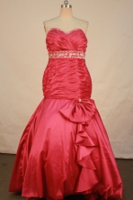 Modern mermaid sweetheart-neck floor-length beading coral red prom dresses FA-X-125