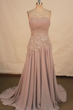 Modest A-line Strapless Brush Gray Appliques Prom Dresses Style FA-C-220