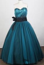 Modest Ball Gown Sweetheart Floor-length Navy Prom Dress LHJ42878