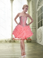 Modest Ball Gown Watermelon Prom Dress with Beading and Pick Ups SJQDDT64003FOR