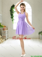 Modest Halter Top Hand Made Flowers Prom Dresses in Purple BMT051AFOR
