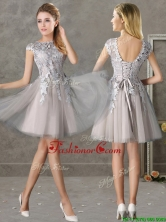 Most Popular Bateau Cap Sleeves Grey Prom Dress with Lace BMT0137CFOR