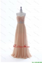 Most Popular Beading Long Prom Dresses in Peach for 2016 Summer DBEES004FOR