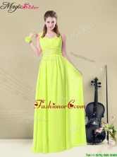 New Arrivals Empire Straps Belt Fashionable Prom Dresses in Yellow Green BMT008-10EFOR