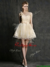 New One Shoulder Short Prom Dress with Belt and Hand Made Flowers BMT0104DFOR