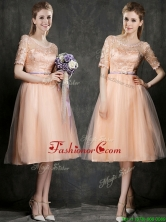 New Scoop Half Sleeves Prom Dress with Sashes and Lace BMT0100AFOR