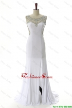 New Style 2016 Empire White Prom Dresses with Beading and High Slit DBEES051FOR