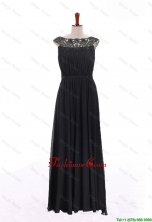New Style Bateau Lace Long Prom Dresses in Black for 2016 DBEES036FOR