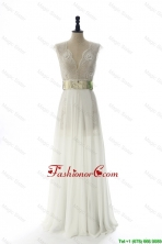 New Style White Long Prom Dresses with Beading and Belt for 2016 DBEES243FOR