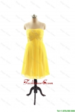 New Style Yellow Short Prom Dresses with Ruching for 2016 DBEES028FOR