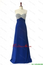 Perfect 2016 Beading Sweep Train Prom Dresses in Royal Blue DBEES241FOR