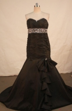 Perfect Mermaid Sweetheart-neck Brush Brown Beading Prom Dresses Style FA-C-198