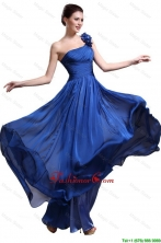 Perfect Royal Blue One Shoulder Prom Dresses with Appliques and Ruching DBEE056FOR