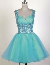 Perfect Short Straps Mini-length  Aqua Prom Dress LHJ42842