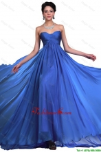 Perfect Sweetheart Ruched Blue Prom Dresses with Brush Train DBEE612FOR