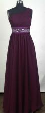 Popular Empire One Shoulder Floor-length Burgundy Prom Dress LHJ42847
