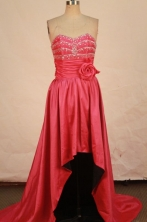 Popular High-low Sweetheart-neck Brush Red Beading Prom Dresses Style FA-C-208