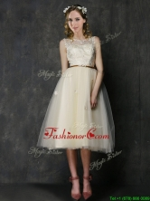 Popular Scoop Champagne Prom Dress with Sashes and Lace BMT0143EFOR