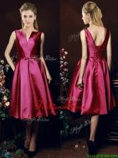 Popular V Neck Knee Length Bowknot Prom Dress in Fuchsia BMT0154FOR