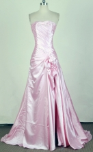 Pretty A-line Strapless Brush Light Pink Prom Dress LHJ42830