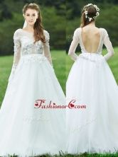 Pretty Applique White Backless Prom Dress with Long Sleeves BMT0174FOR