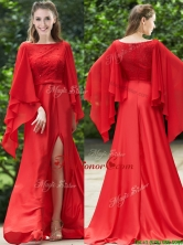 Pretty Bateau Long Sleeves Red Prom Dress with Beading and High Slit BMT0164FOR