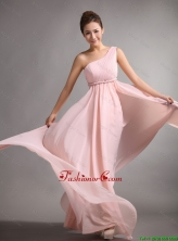 Pretty Empire One Shoulder Prom Gowns with Belt and Ruching DBEE633FOR