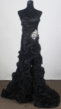 Pretty Empire Sweetheart Brush  Black Prom Dress LHJ42887