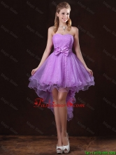 Pretty Strapless Bowknot Prom Dresses with High Low BMT058CFOR