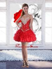 Red Short Sweetheart Elegant Prom Dresses with Beading for 2015 SJQDDT78003FOR