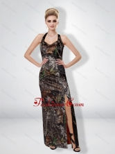 Fashionable 2015 Column Halter Top Camo Prom Dresses with High Slit CMPD007FOR