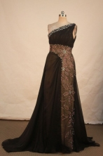 Romantic A-line One-shoulder Neck Brown Beading Floor-length Prom Dresses Style FA-C-227