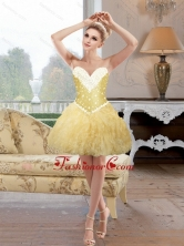 Romantic Beaded and Ruffles Prom Dresses in Gold for Cocktail SJQDDT82003FOR