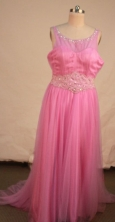 Romantic Empire Scoop neck Floor-length Rose Pink Beading Prom Dresses Style FA-C-204