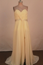 Romantic Empire Sweetheart-neck Floor-length Chiffon Yellow Beading Prom Dresses Style FA-C-164
