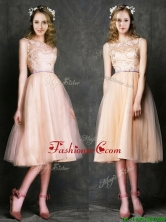 Romantic Laced and Sashed Scoop Prom Dress in Peach BMT0100FFOR