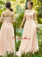 See Through One Shoulder Peach Prom Dress in Floor Length BMT098AFOR