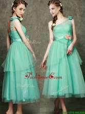 See Through One Shoulder Prom Dress with Bowknot and Hand Made Flowers BMT095DFOR