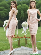 See Through Scoop Cap Sleeves Prom Dress with Sashes BMT0103AFOR