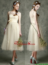 See Through Scoop Champagne Prom Dress with Hand Made Flowers and Appliques BMT097BFOR