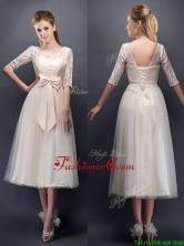 See Through Scoop Half Sleeves Champagne Prom Dress with Bowknot BMT0107-1FOR