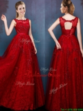 See Through Scoop Wine Red Prom Dress with Beading and Appliques BMT092FOR
