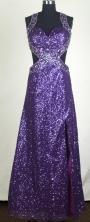 Sexy Empire Halter Floor-length Purple Prom Dress LHJ42850