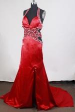 Sexy Empire Halter Top Brush Satin Wine Red Prom Dress LHJ42874