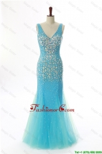 Sexy Mermaid V Neck Backless Beading Long Prom Dresses for 2016 DBEES002FOR