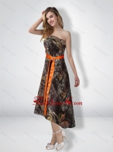 Fashionable Short Strapless Strapless High Low Camo Prom Dresses with Sash CMPD042FOR