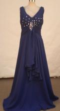 Simple A-line V-neck Floor-length Purple Beading Prom Dresses Style FA-C-194