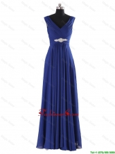 Simple V Neck Beading and Ruching Long Prom Dresses for 2016 fall DBEES019FOR